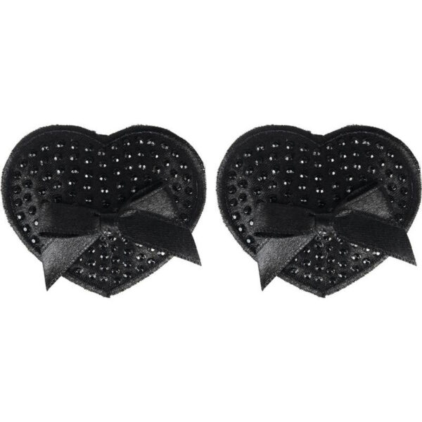 Satin Black Sequin & Bow Premium Pasties