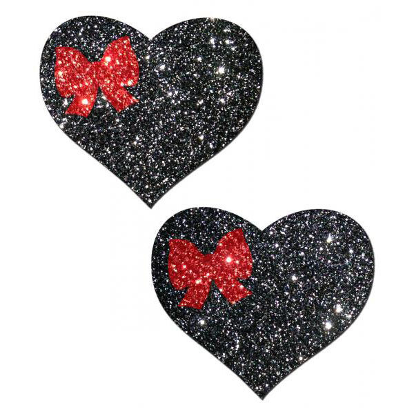 Black Glitter Heart with Bow Pasties