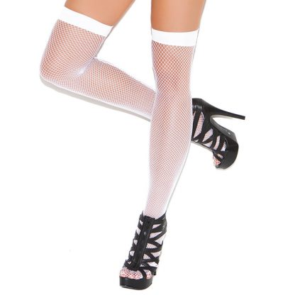 White Fishnet Thigh High with Back Seam
